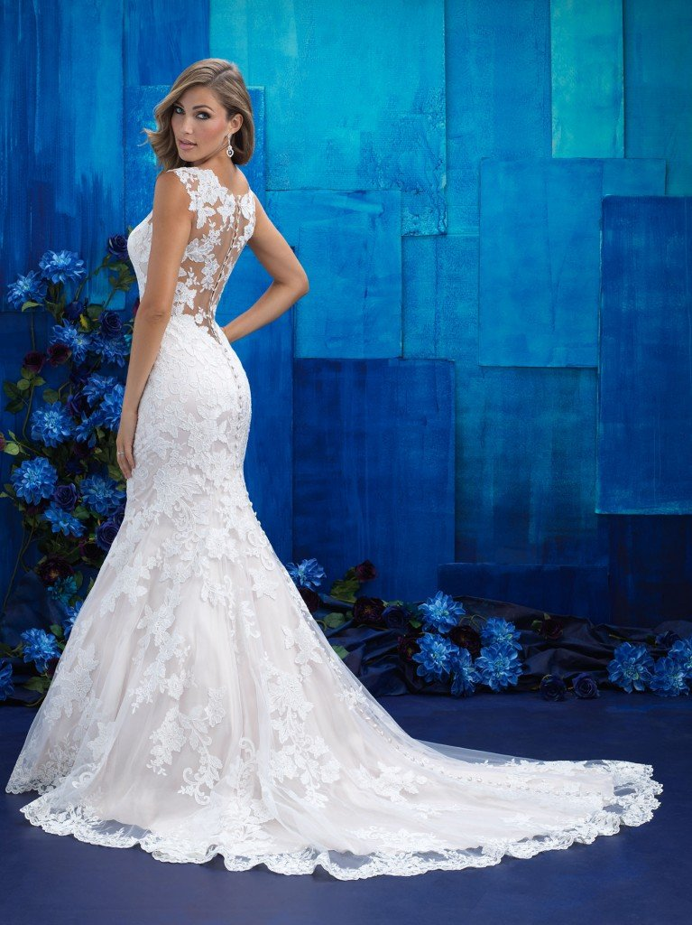 Allure 9422, a soft, romantic illusion top fit and flare with no beadwork